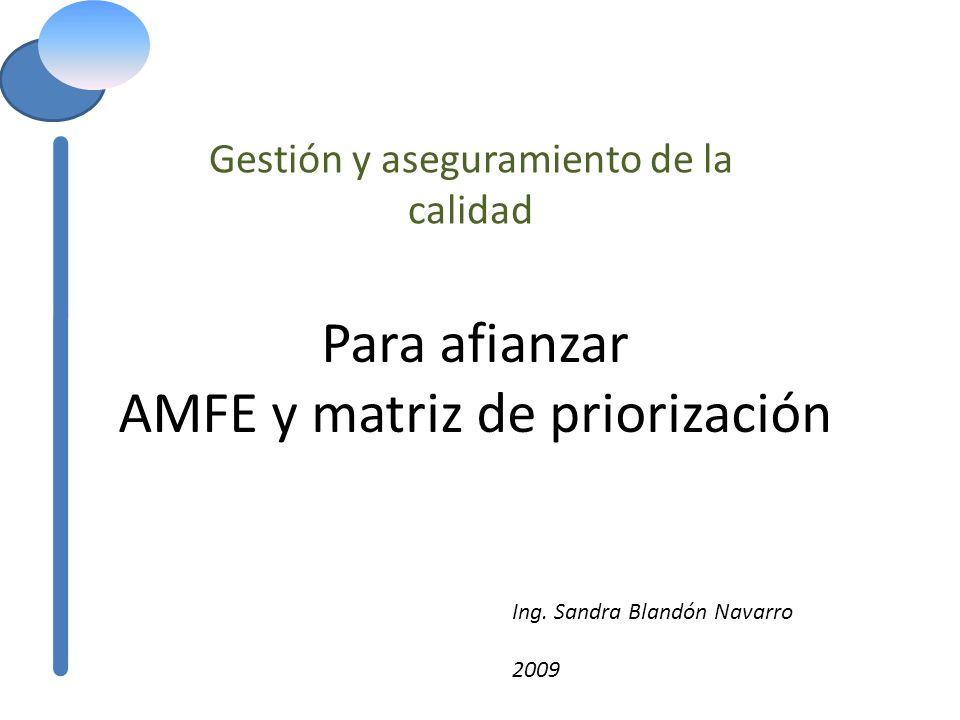 Para afianzar AMFE y matriz de priorización