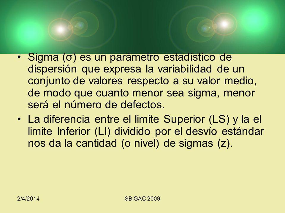 Sigma (σ) es un parámetro estadístico de dispersión que expresa la variabilidad de un conjunto de valores respecto a su valor medio, de modo que cuanto menor sea sigma, menor será el número de defectos.