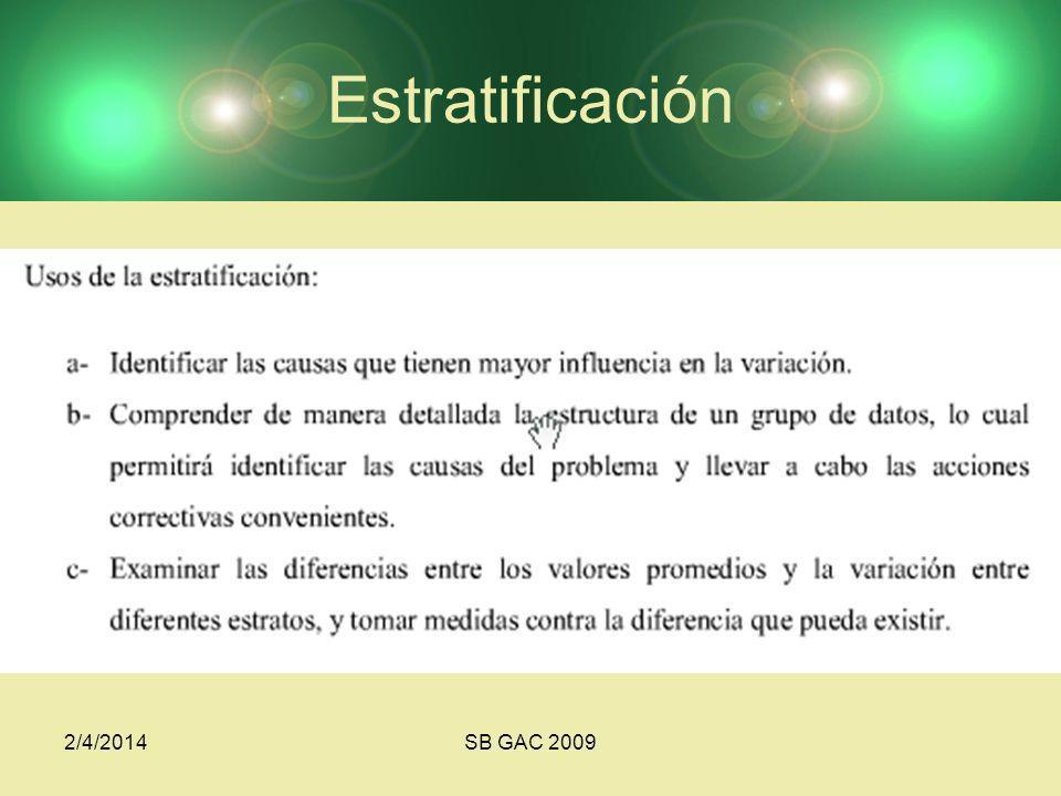 Estratificación 3/24/2017 SB GAC 2009
