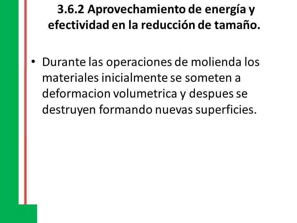 3.6.2 Aprovechamiento de energía y efectividad en la reducción de tamaño.