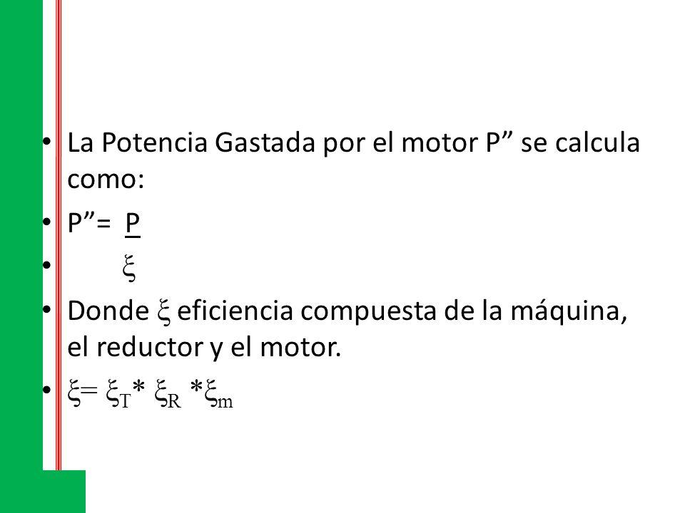 La Potencia Gastada por el motor P se calcula como: