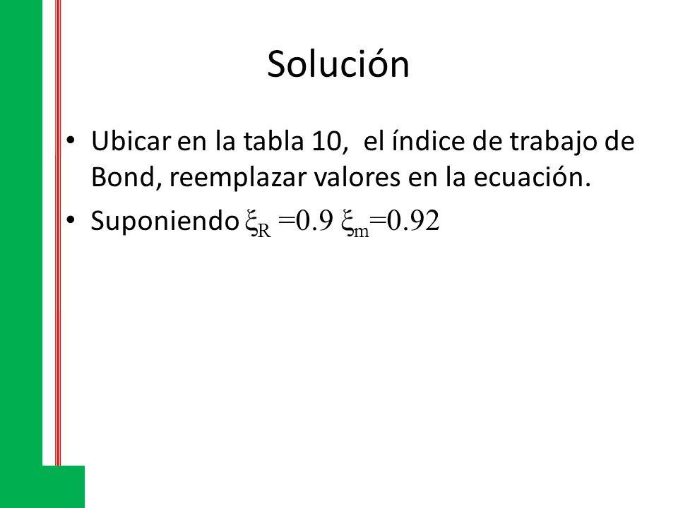 Solución Ubicar en la tabla 10, el índice de trabajo de Bond, reemplazar valores en la ecuación.