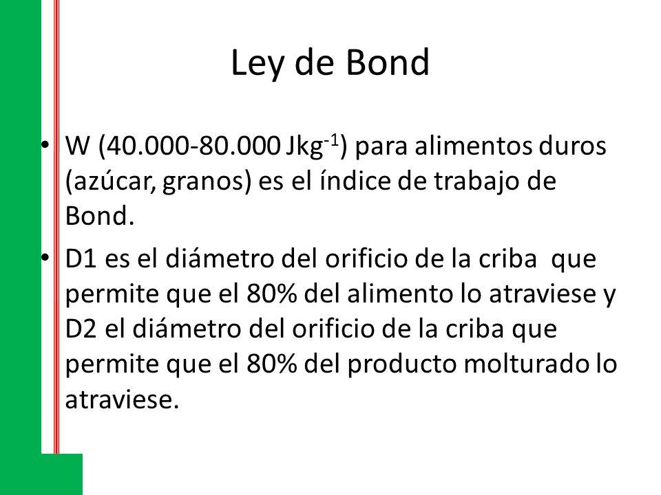 Ley de Bond W (40.000-80.000 Jkg-1) para alimentos duros (azúcar, granos) es el índice de trabajo de Bond.