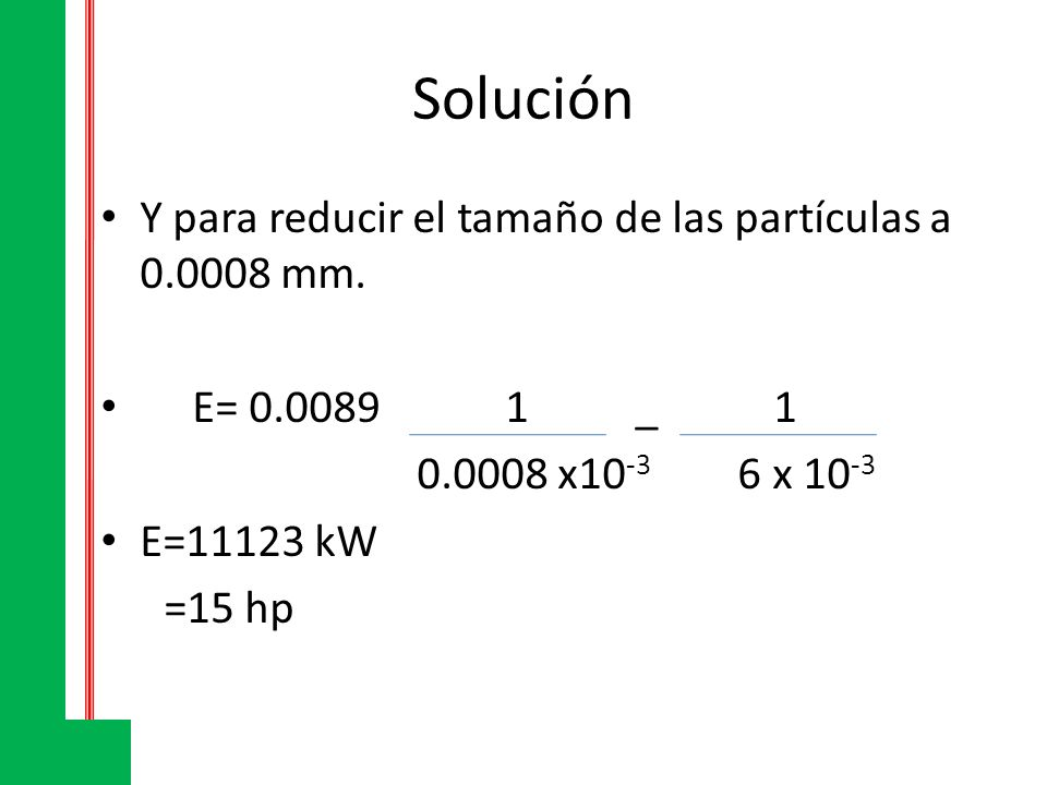 Solución Y para reducir el tamaño de las partículas a 0.0008 mm.