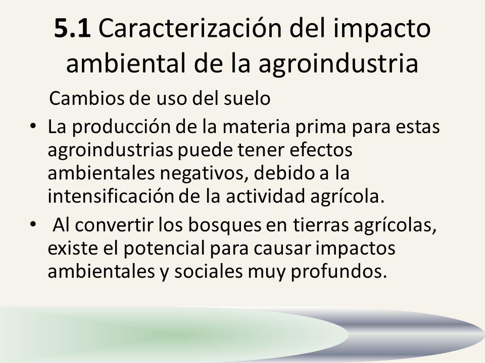 5.1 Caracterización del impacto ambiental de la agroindustria
