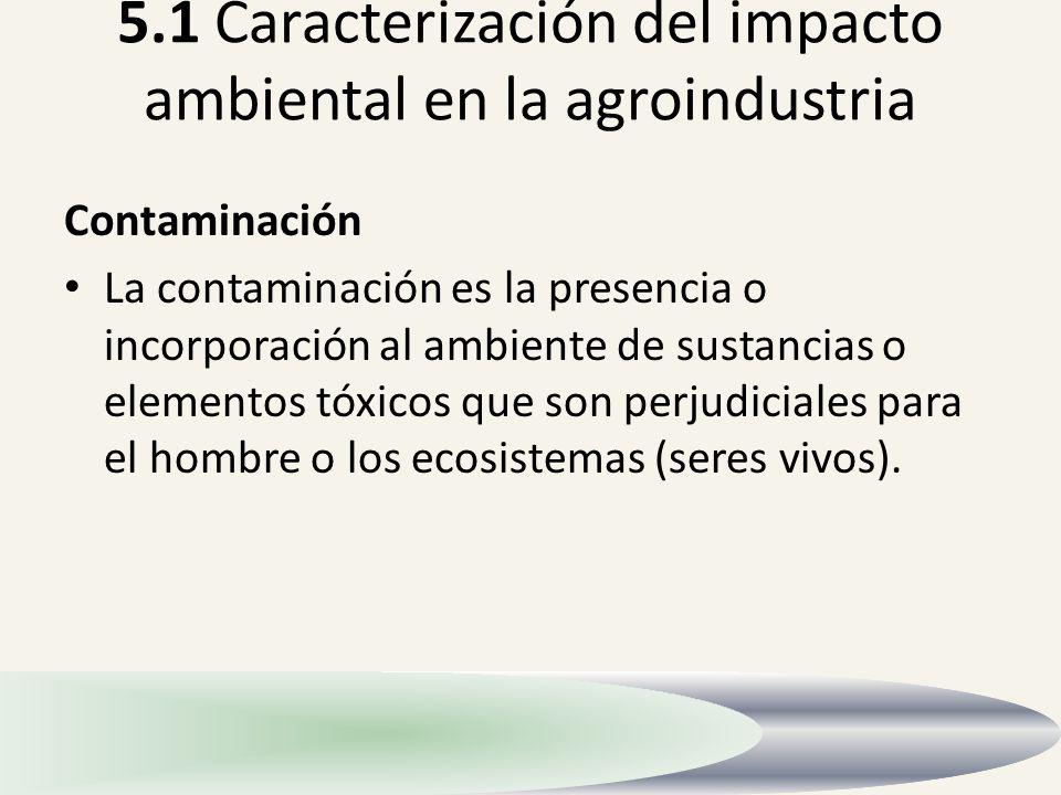 5.1 Caracterización del impacto ambiental en la agroindustria