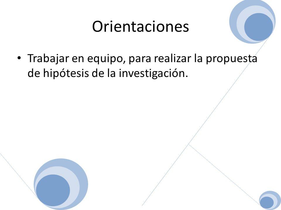 Orientaciones Trabajar en equipo, para realizar la propuesta de hipótesis de la investigación.