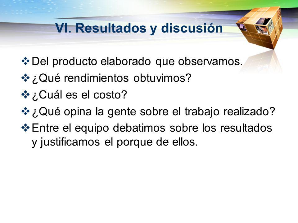 VI. Resultados y discusión