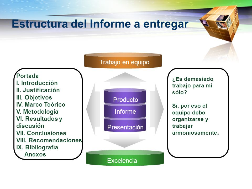 Estructura del Informe a entregar