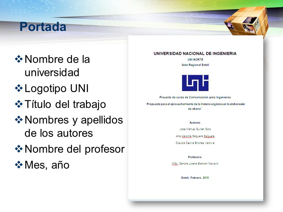 Portada Nombre de la universidad Logotipo UNI Título del trabajo