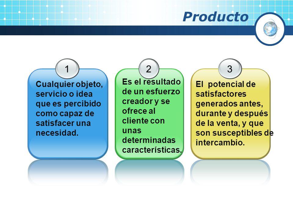 Producto1. Cualquier objeto, servicio o idea que es percibido como capaz de satisfacer una necesidad.
