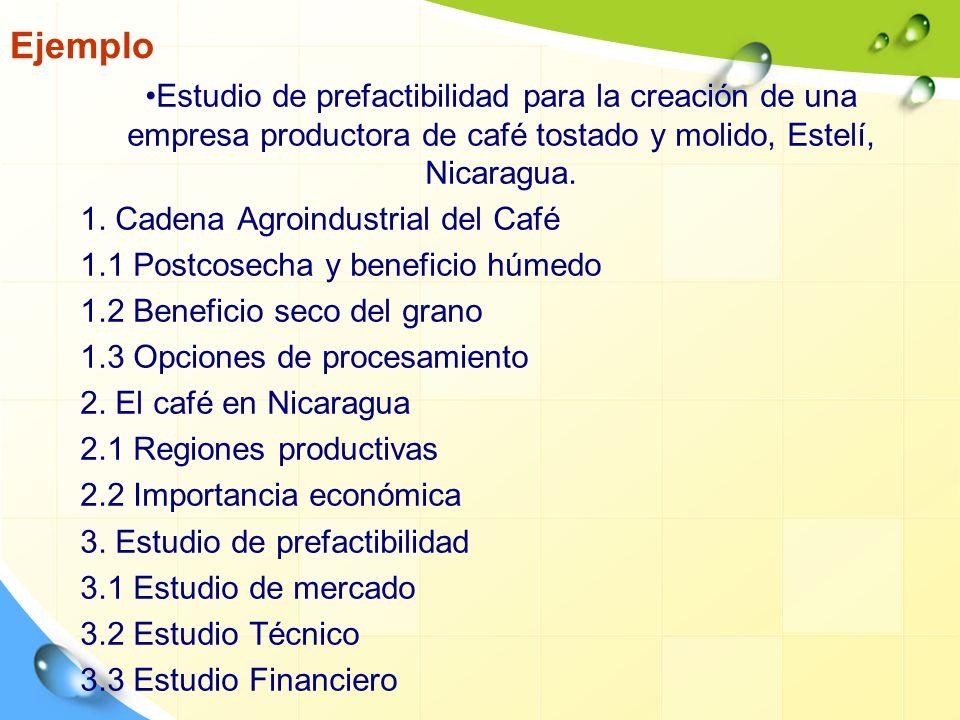 Ejemplo Estudio de prefactibilidad para la creación de una empresa productora de café tostado y molido, Estelí, Nicaragua.