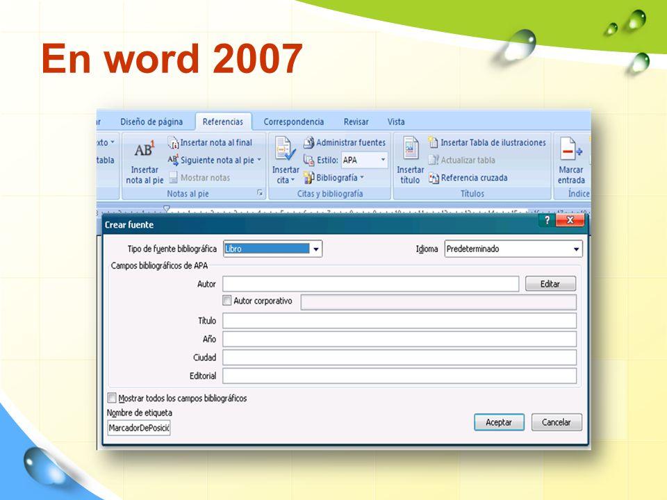 En word 2007