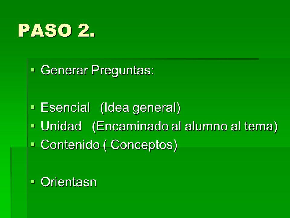 PASO 2. Generar Preguntas: Esencial (Idea general)
