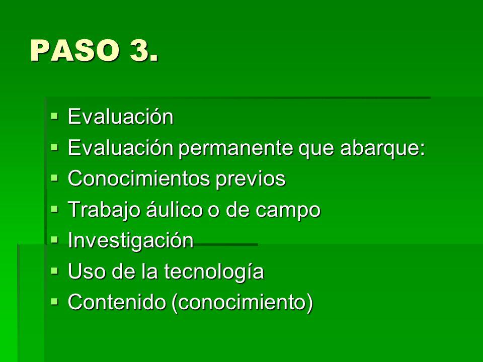 PASO 3. Evaluación Evaluación permanente que abarque: