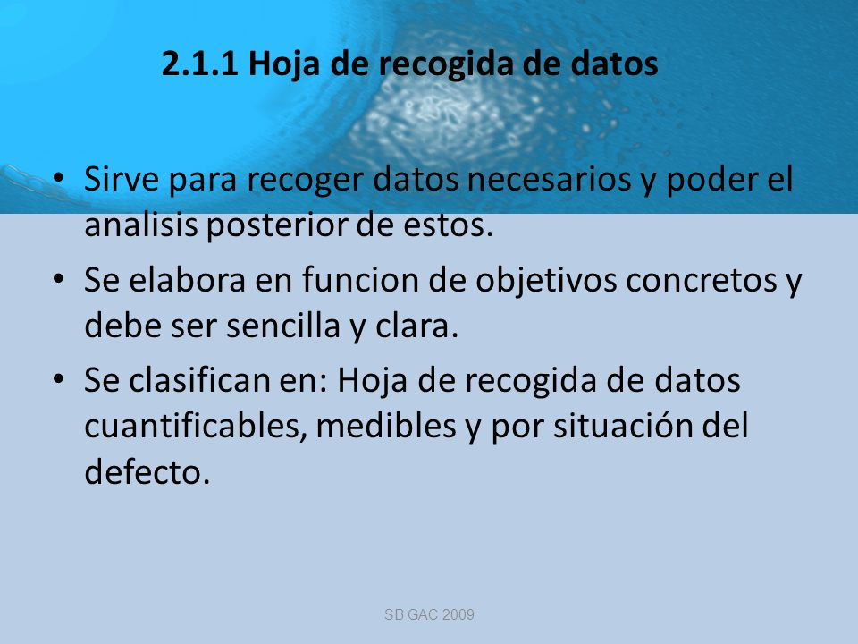2.1.1 Hoja de recogida de datos