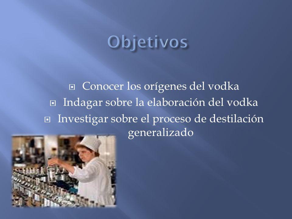 Objetivos Conocer los orígenes del vodka