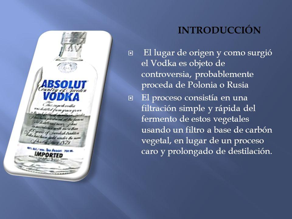 Introducción El lugar de origen y como surgió el Vodka es objeto de controversia, probablemente proceda de Polonia o Rusia.