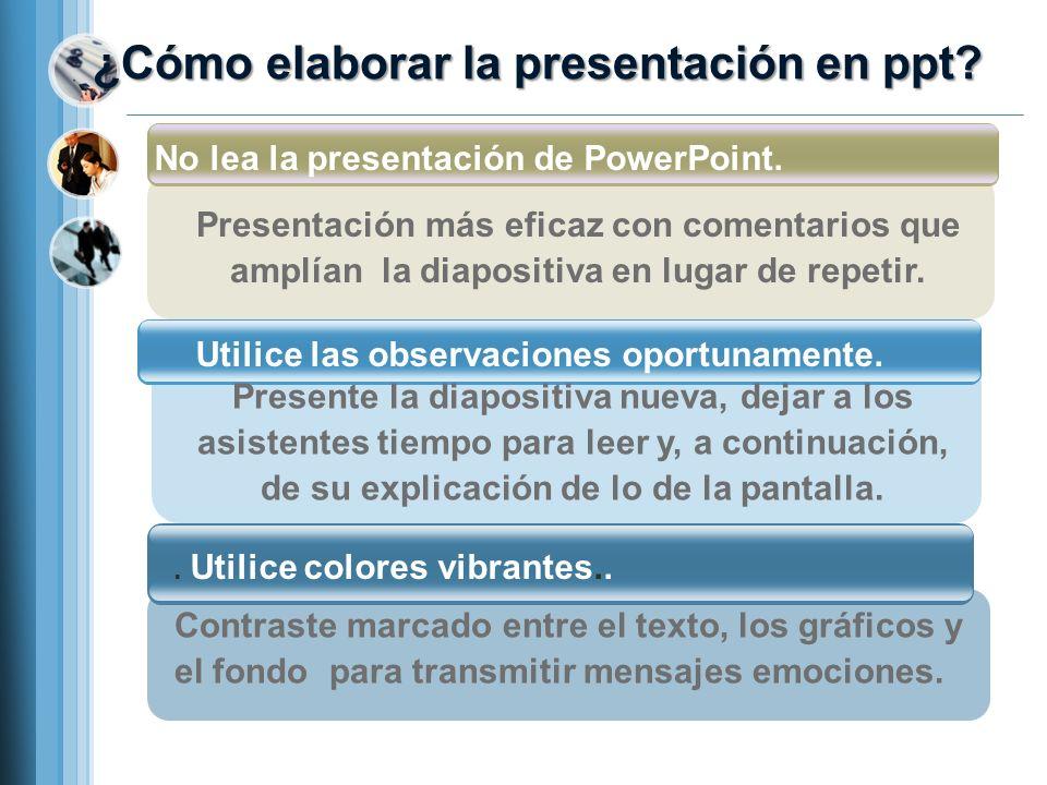 ¿Cómo elaborar la presentación en ppt