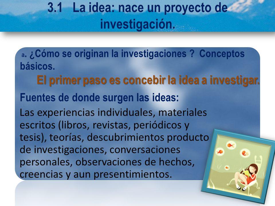 3.1 La idea: nace un proyecto de investigación.