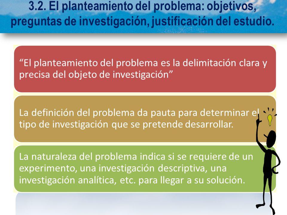 3.2. El planteamiento del problema: objetivos, preguntas de investigación, justificación del estudio.