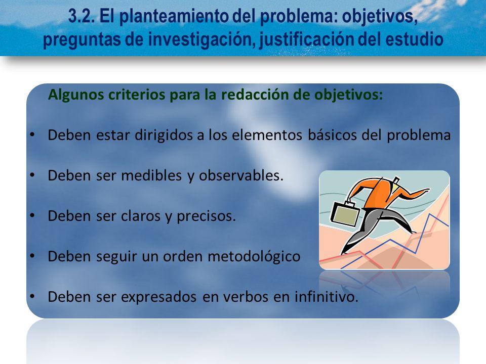 3.2. El planteamiento del problema: objetivos, preguntas de investigación, justificación del estudio
