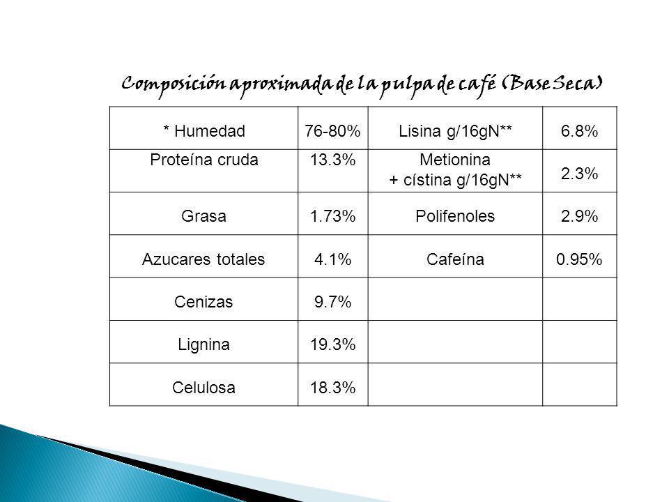 Composición aproximada de la pulpa de café (Base Seca)
