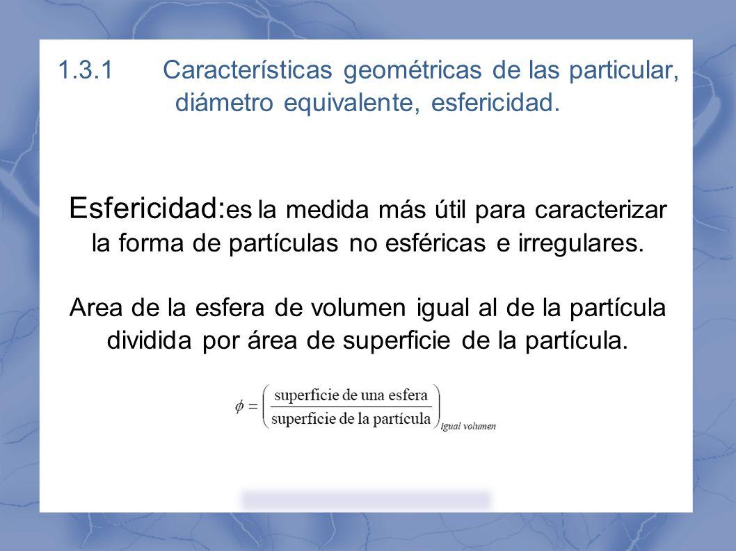 1.3.1 Características geométricas de las particular, diámetro equivalente, esfericidad.