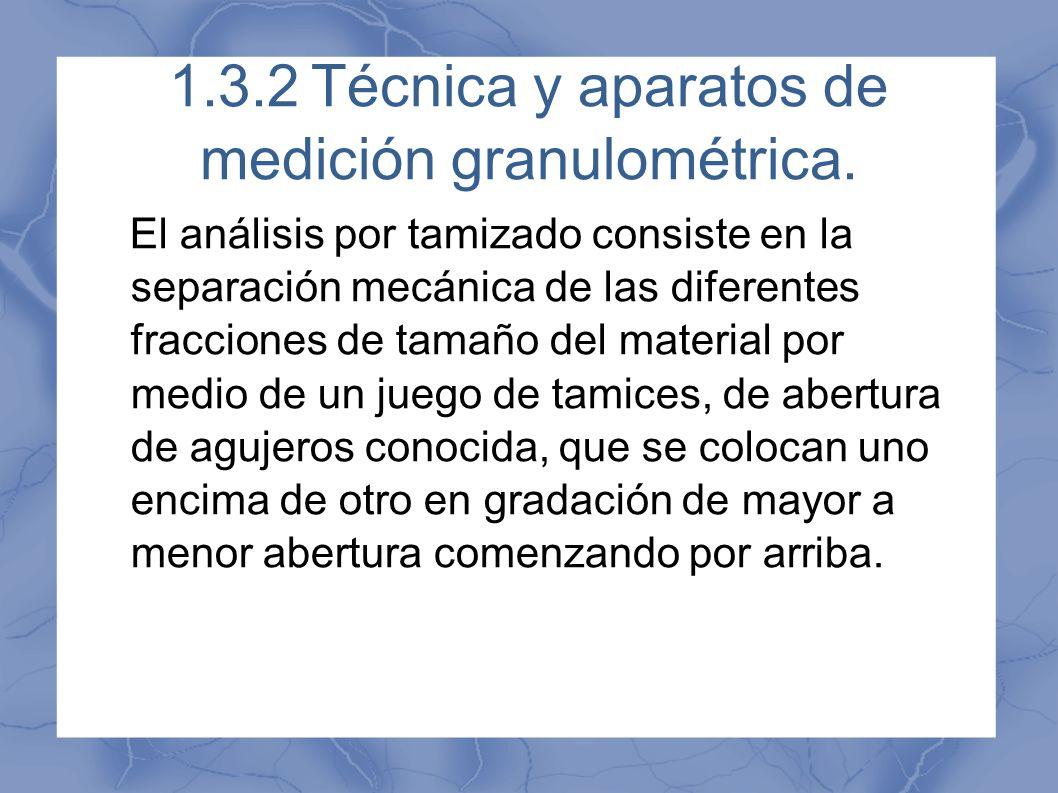 1.3.2 Técnica y aparatos de medición granulométrica.