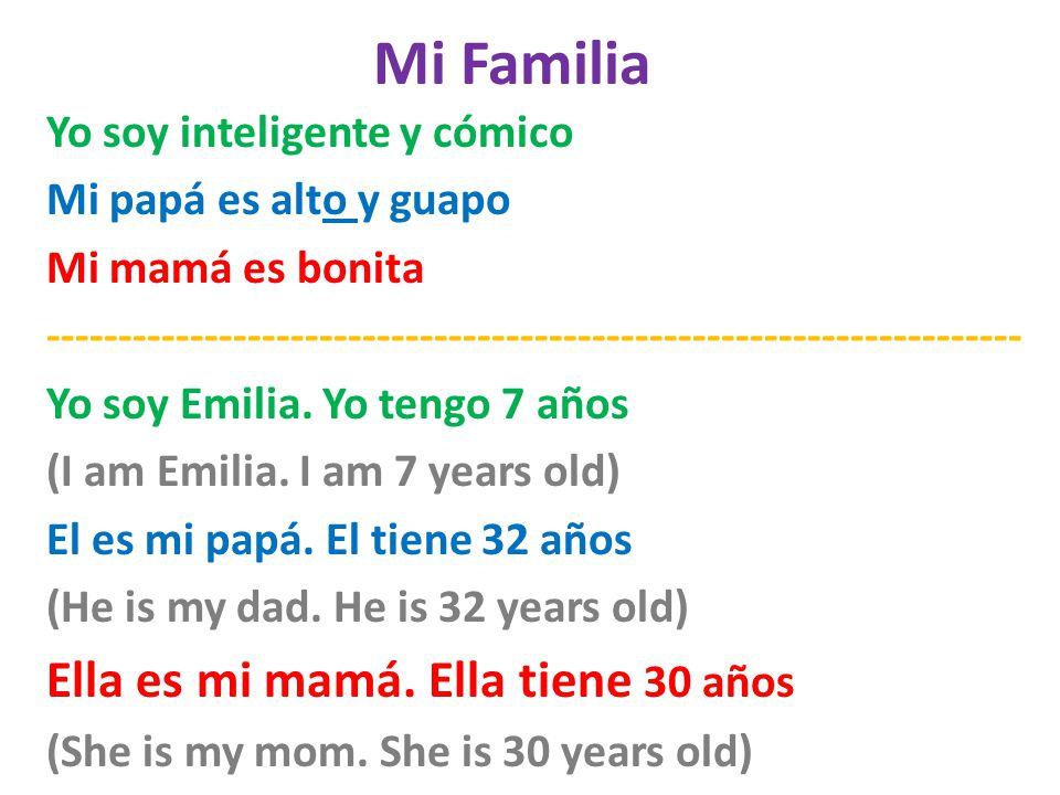 Mi Familia Ella es mi mamá. Ella tiene 30 años