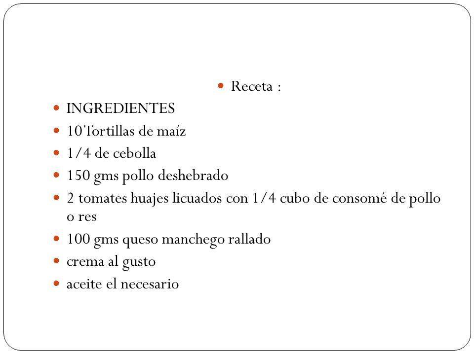 Receta : INGREDIENTES. 10 Tortillas de maíz. 1/4 de cebolla. 150 gms pollo deshebrado.