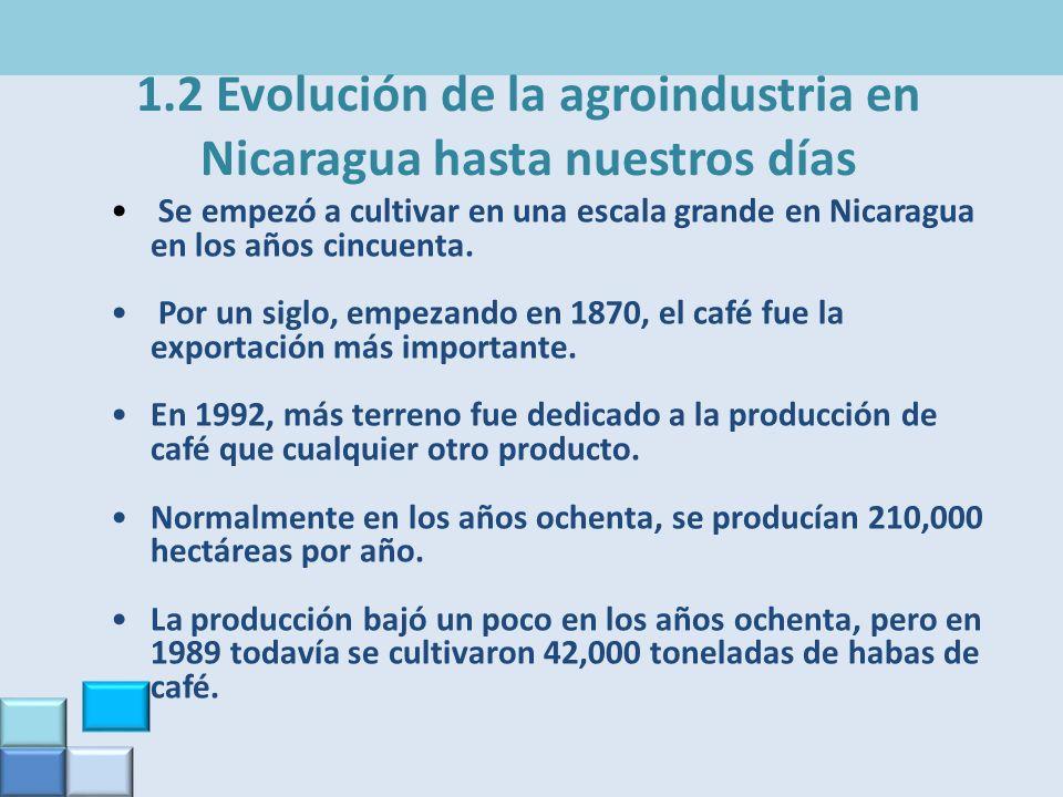 1.2 Evolución de la agroindustria en Nicaragua hasta nuestros días