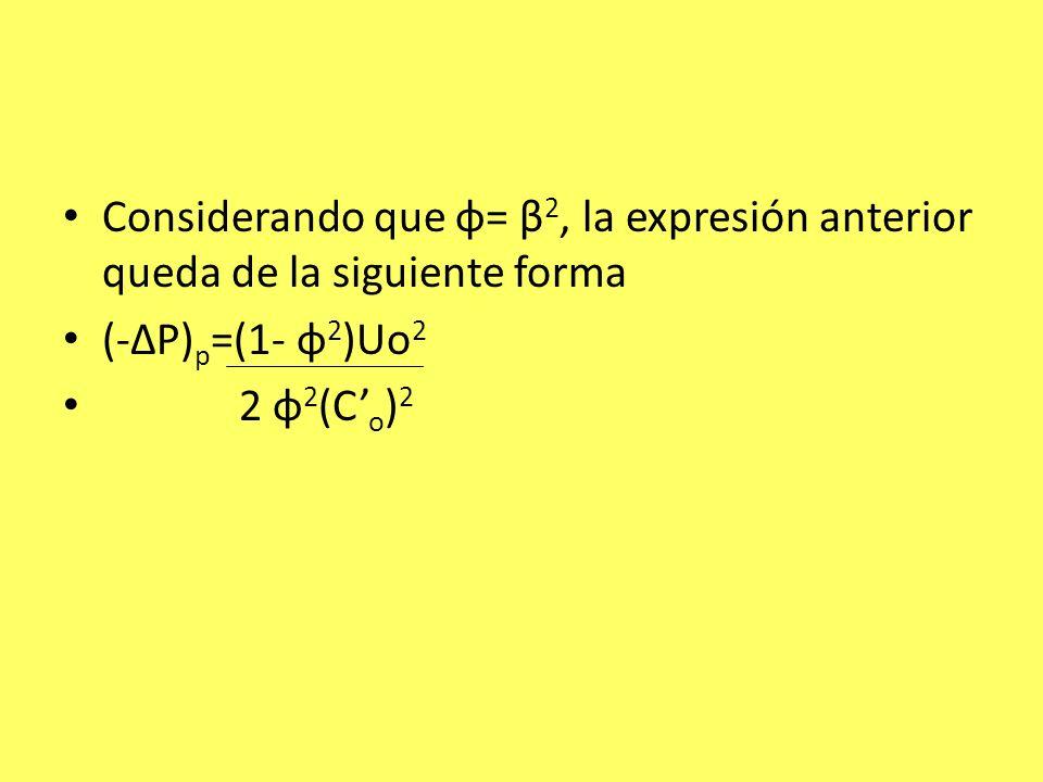 Considerando que φ= β2, la expresión anterior queda de la siguiente forma