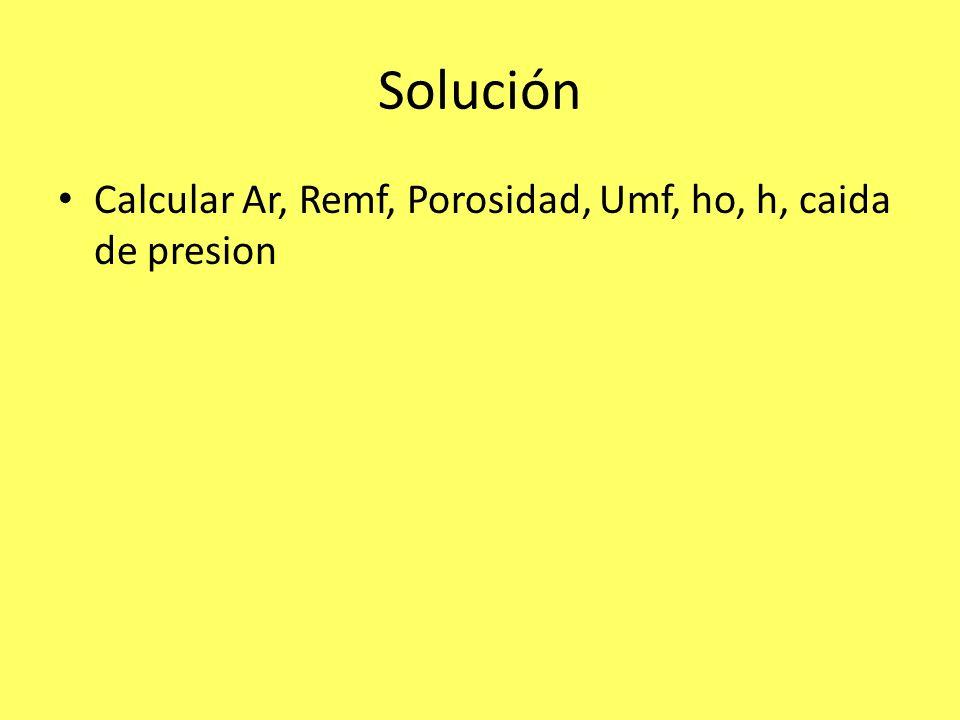 Solución Calcular Ar, Remf, Porosidad, Umf, ho, h, caida de presion