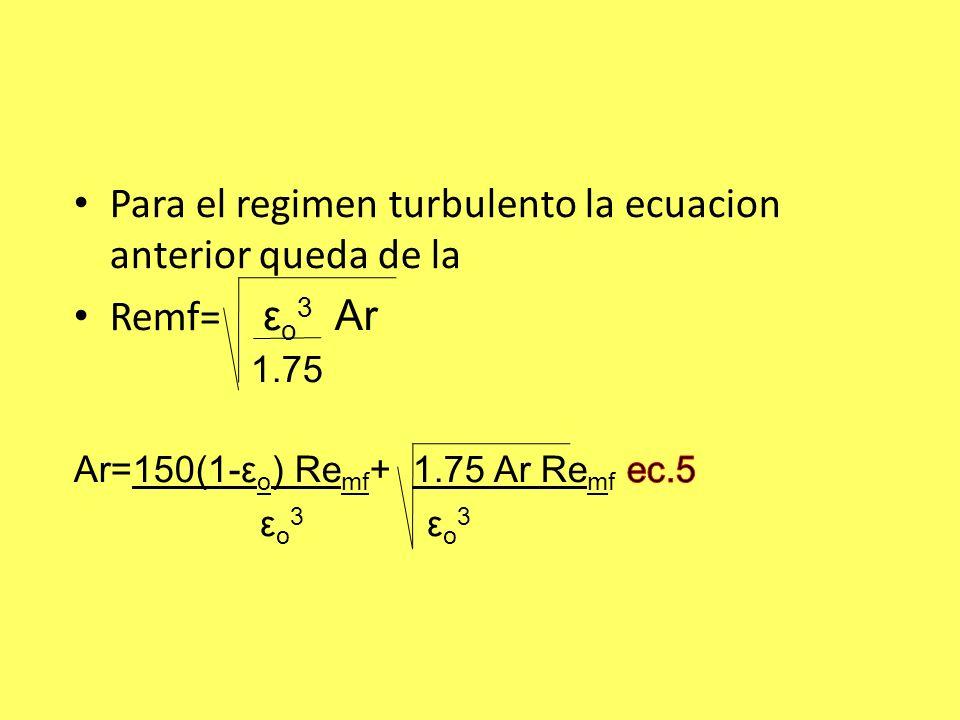 Para el regimen turbulento la ecuacion anterior queda de la