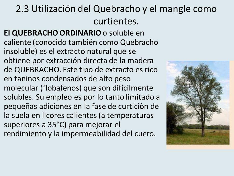 2.3 Utilización del Quebracho y el mangle como curtientes.