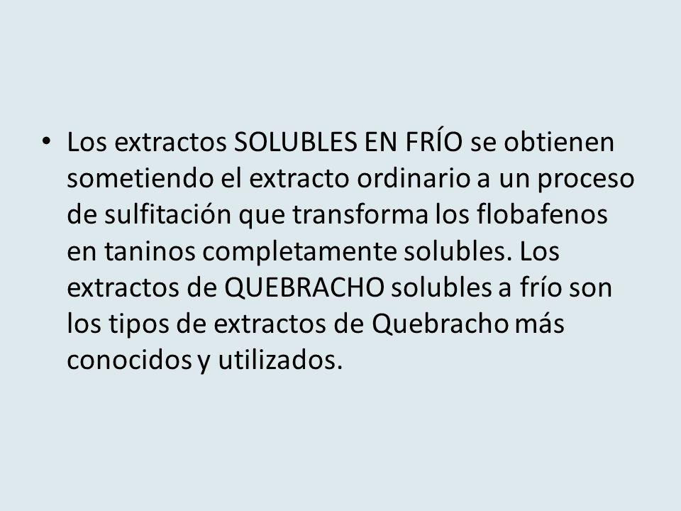 Los extractos SOLUBLES EN FRÍO se obtienen sometiendo el extracto ordinario a un proceso de sulfitación que transforma los flobafenos en taninos completamente solubles.