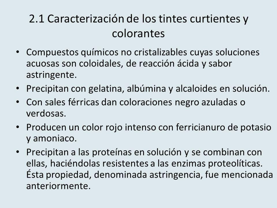 2.1 Caracterización de los tintes curtientes y colorantes