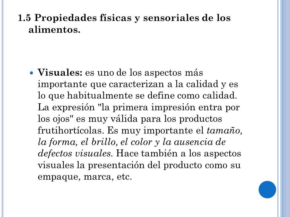 1.5 Propiedades físicas y sensoriales de los alimentos.