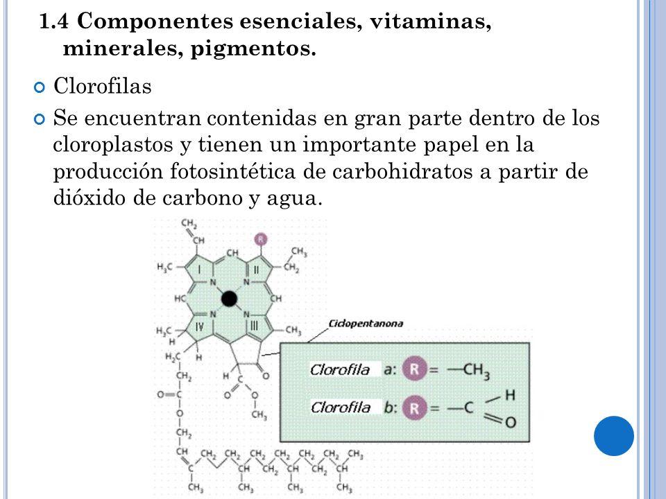 1.4 Componentes esenciales, vitaminas, minerales, pigmentos.