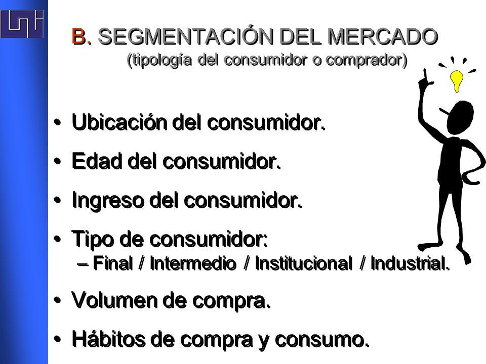 B. SEGMENTACIÓN DEL MERCADO (tipología del consumidor o comprador)