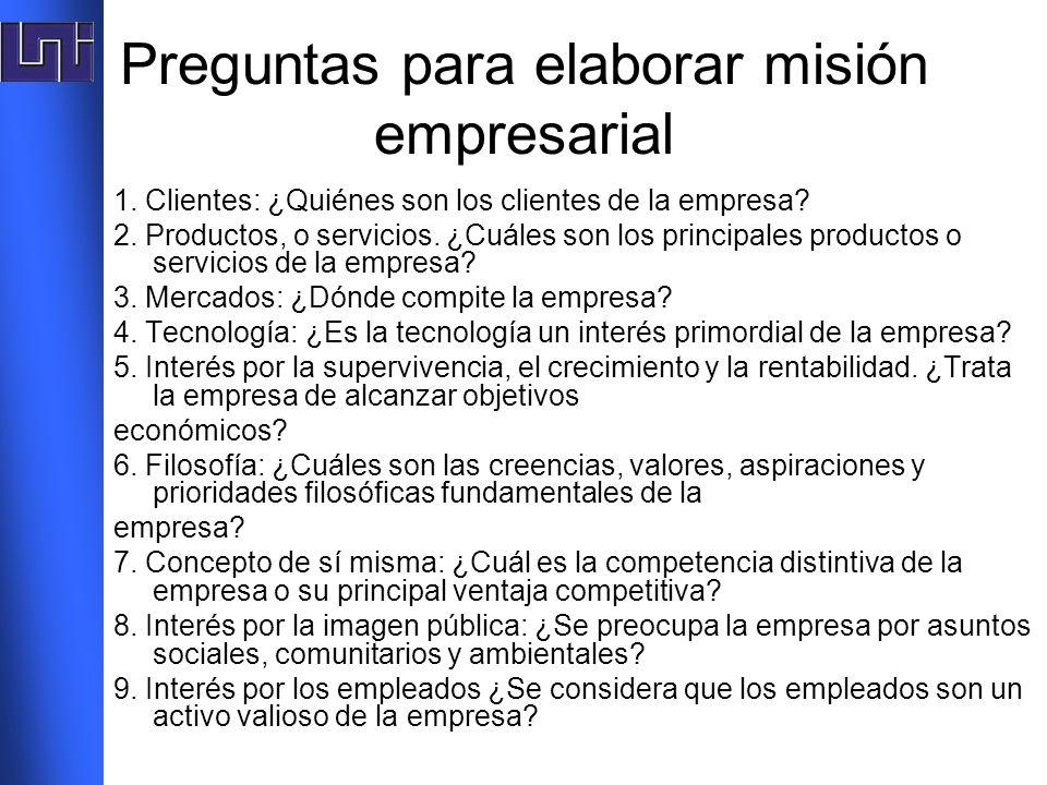 Preguntas para elaborar misión empresarial