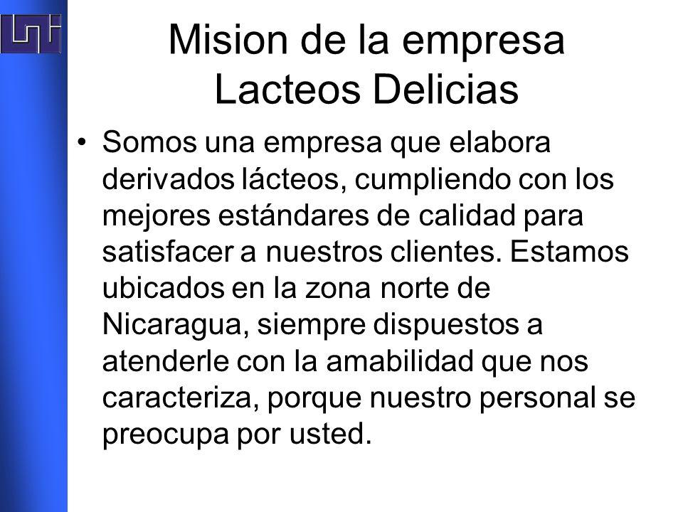 Mision de la empresa Lacteos Delicias