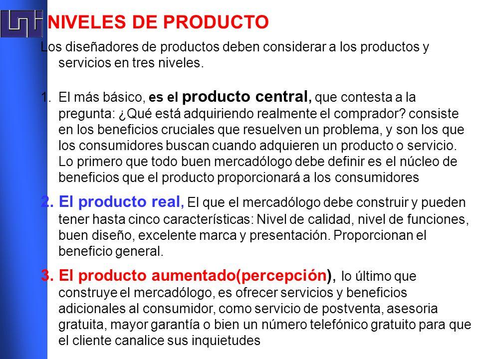 NIVELES DE PRODUCTOLos diseñadores de productos deben considerar a los productos y servicios en tres niveles.