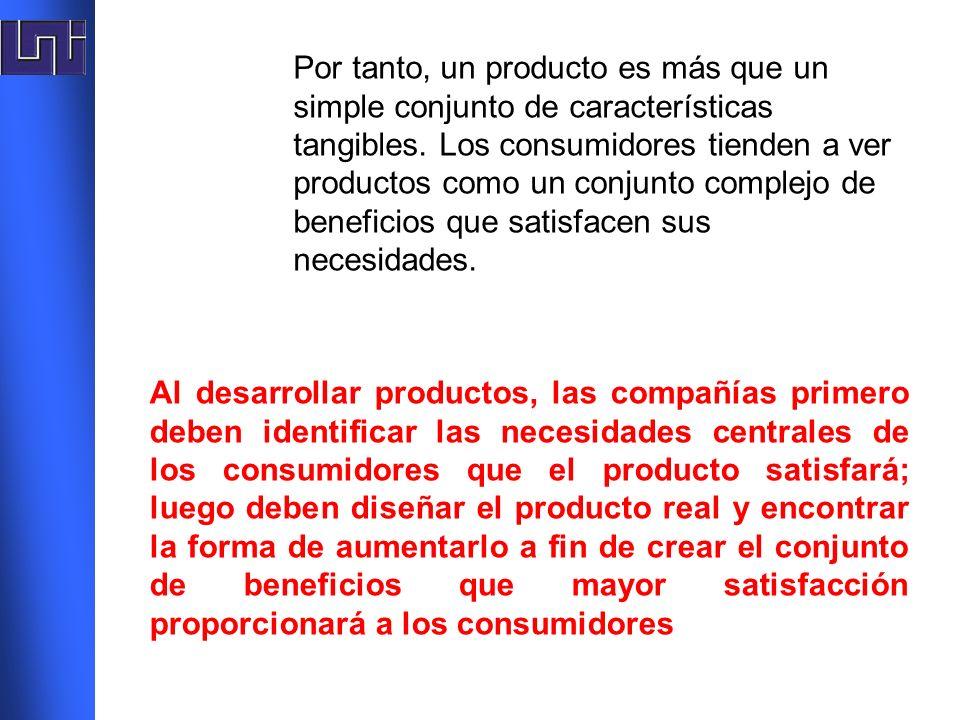 Por tanto, un producto es más que un simple conjunto de características tangibles. Los consumidores tienden a ver productos como un conjunto complejo de beneficios que satisfacen sus necesidades.