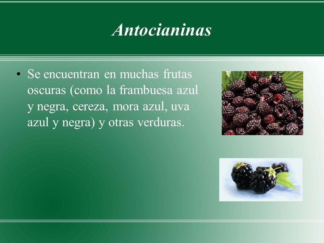 Antocianinas Se encuentran en muchas frutas oscuras (como la frambuesa azul y negra, cereza, mora azul, uva azul y negra) y otras verduras.