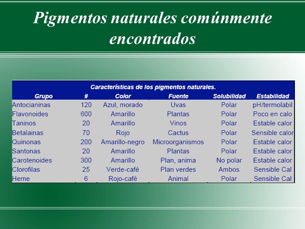 Pigmentos naturales comúnmente encontrados