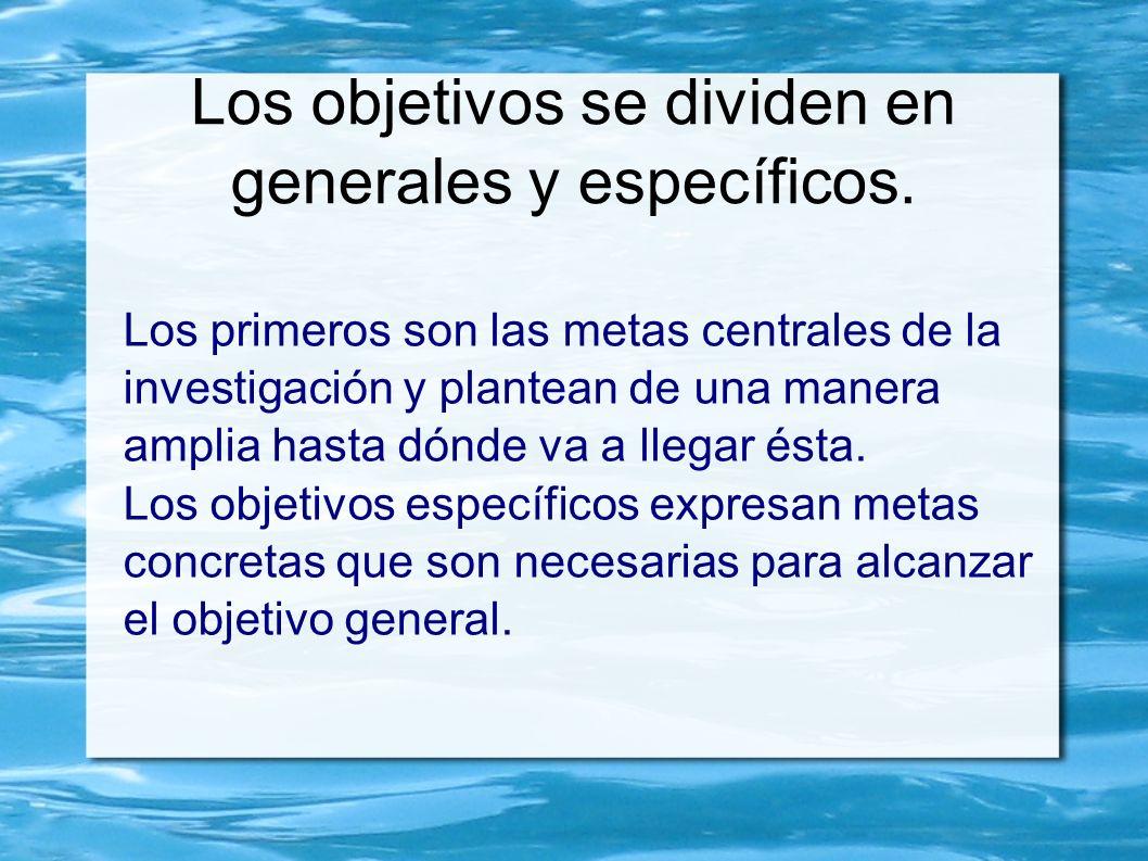 Los objetivos se dividen en generales y específicos.