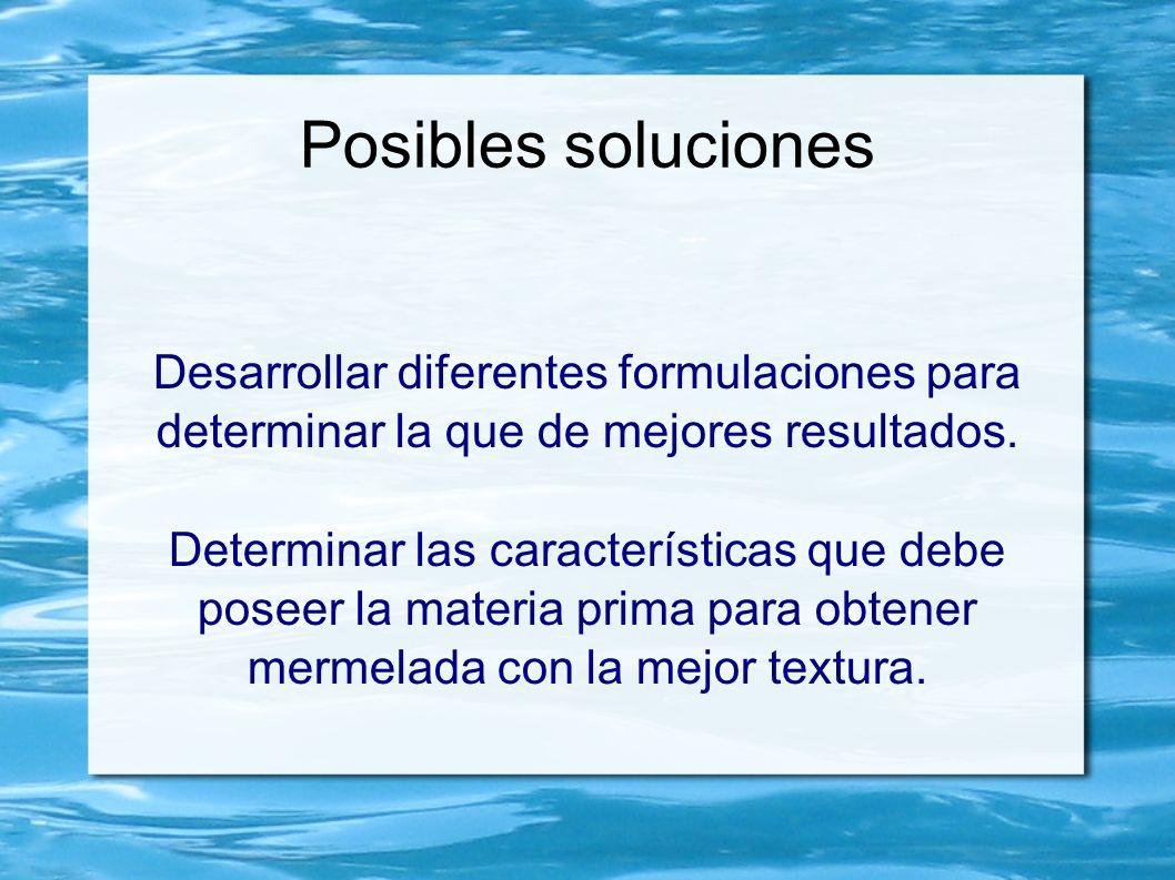 Posibles soluciones Desarrollar diferentes formulaciones para determinar la que de mejores resultados.