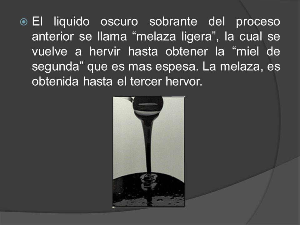 El liquido oscuro sobrante del proceso anterior se llama melaza ligera , la cual se vuelve a hervir hasta obtener la miel de segunda que es mas espesa.